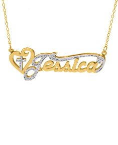 "Double-Plate Rhodium Beaded Name Necklace ""Jessica"""