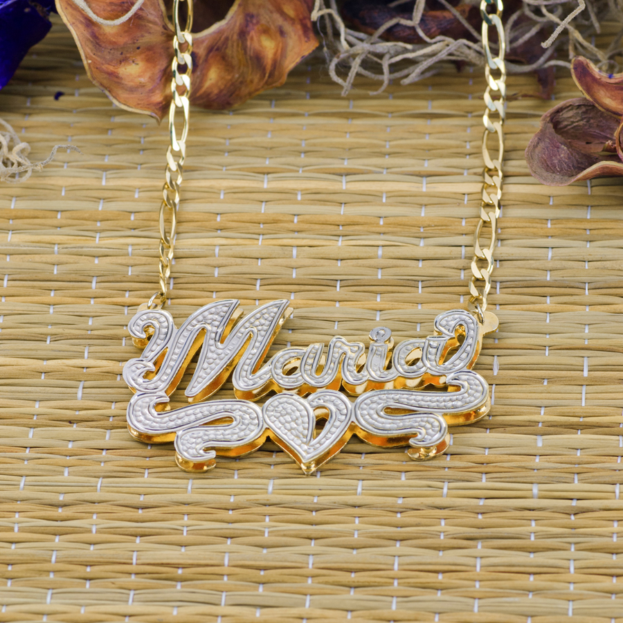 Double Plate Rhodium Beaded Name Necklace Quot Maria Quot