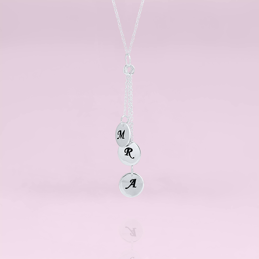 drop down initial disk necklace