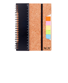 Eco Friendly Cork Note book W/ Ruler Flags & Sticky Notes