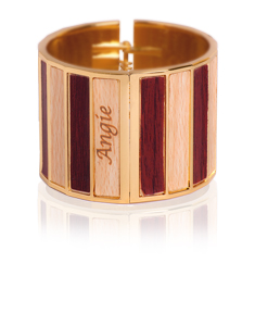 Enamel Personalized Wood Bangle Bracelet