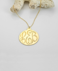 Gold Engraved Monogram Pendant