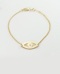 Evil Eye Bracelet with White Zirconia Crystal