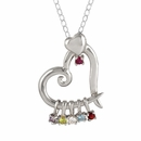 Family Heart Pendant with 6 Birthstones