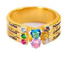 Family Ring with Birthstones and Engraved Names