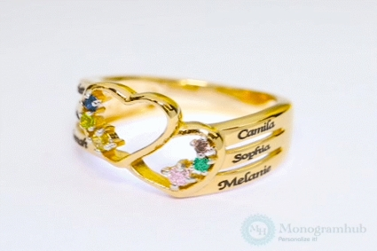 Family Ring with Birthstones and Names