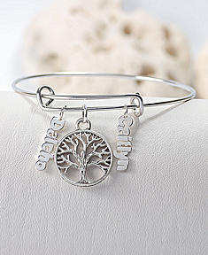 Family Tree Bangle with Mini Name Plate