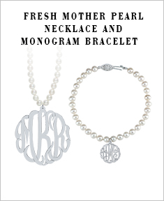 Fresh Mother Pearl Necklace and Monogram Bracelet