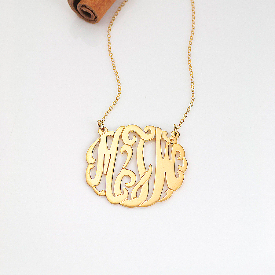 10k 14k gold script monogram necklace for 10k gold jewelry