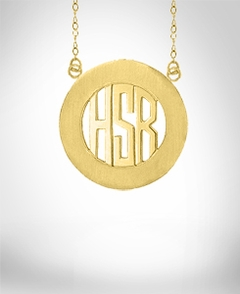 Encircled Block Monogram Necklace
