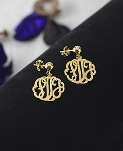 Gold Handmade Script Monogram Earrings