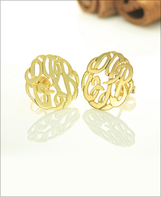 Handmade Script Monogram Stud Earrings