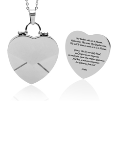 Heart Locket with Our Father Prayer