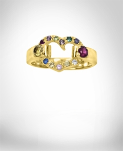Heart Shaped Ring with Two Birthstones