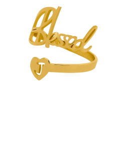 """Blessed"" With Initial Adjustable Ring"