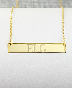 Gold Horizontal Bar Name Necklace
