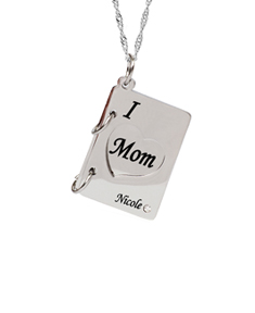 I (Heart) Mom Book Pendant