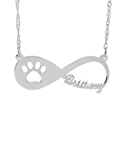 Infinity Paw Necklace With Name