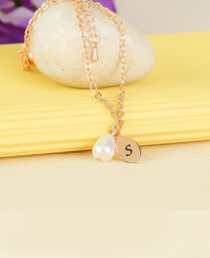 Initial Drop Necklace With Pearl