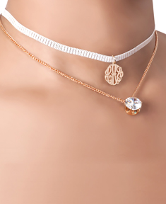 Choker  Monogram Pendant with Translucent Faux Stone