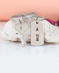 Engravable  Key and Lock Key Chains