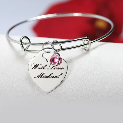Laser Engraved Heart Bangle