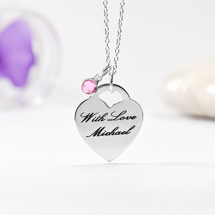 Laser Engraved Heart Necklace
