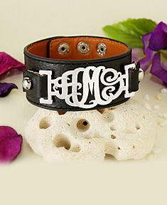 Leather Band Cut-out Monogram Bracelet