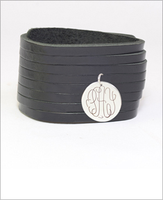 Leather Bracelet with Monogram Disc
