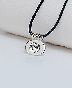 Leather Cord Monogram Pendant Necklace.
