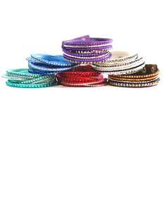 Leatherette Wrap Bracelet with Crystals