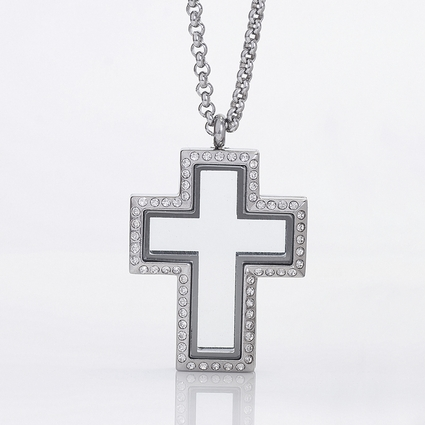 Locket Cross with Zirconia Crystals and 4 Floating Motifs of your choice
