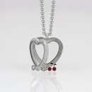 Heart Locket 3cm with Crystals and with 3 Floating Motifs of your choice