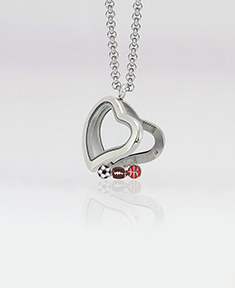 Curved Heart Locket 3cm with 3 Floating Motifs  of your choice