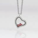 Curved Heart Locket 3cm with Crystals and 4 Floating Motifs of your choice