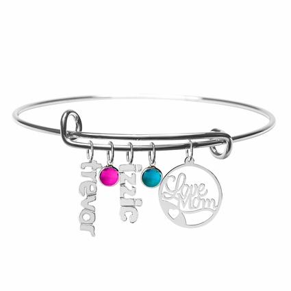 """Love Mom""  Bangle with Vertical Names and Stones"