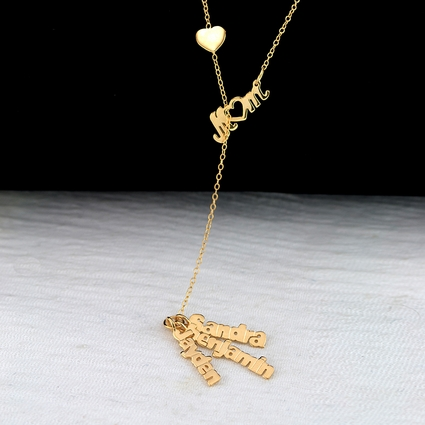 Love Mom with Names Necklace