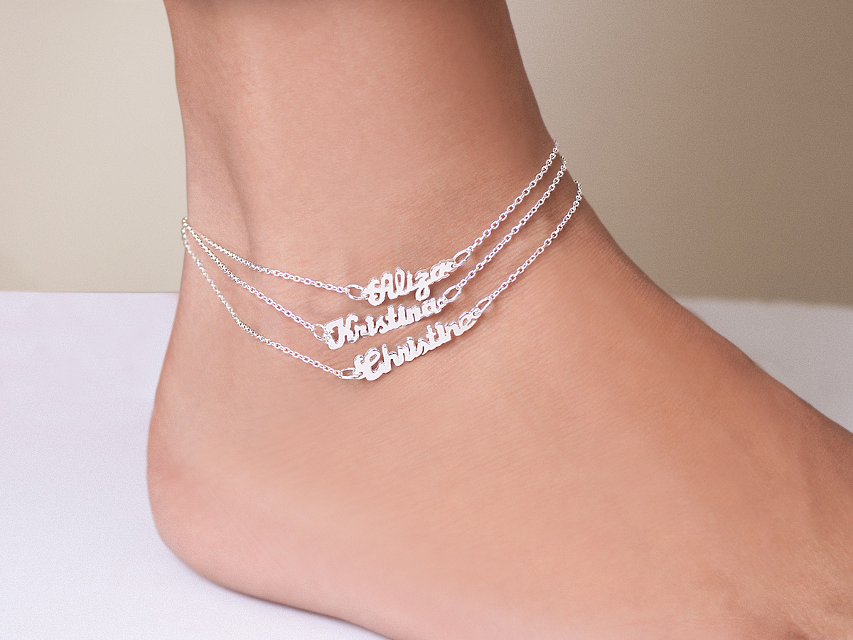 set ankle bracelets anklet bracelet chain goldtone heart real curb love index