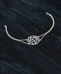 Monogram Bracelet with Rollo Chain