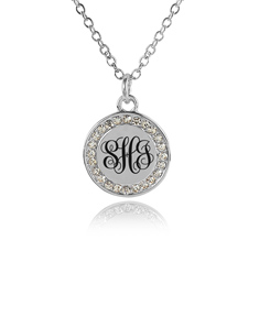 Monogram Cubic Zirconia Disk Necklace