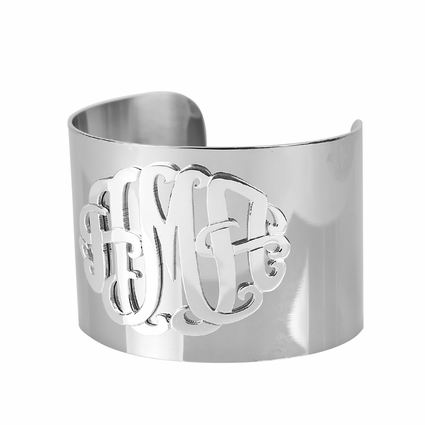 Stainless Steel Monogram Cuff Bangle
