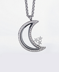 Moon Locket with Zirconia Crystals and 4 Floating Motifs of your choice