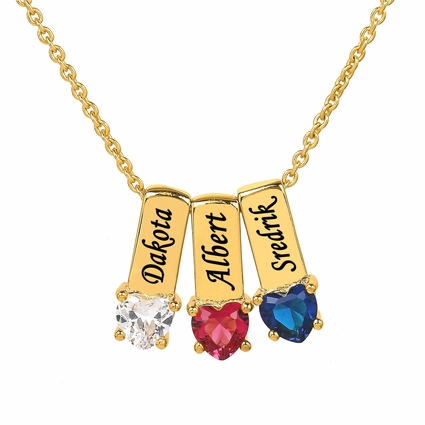 Mother's Necklace w/ Heart Shape Birthstone Charm