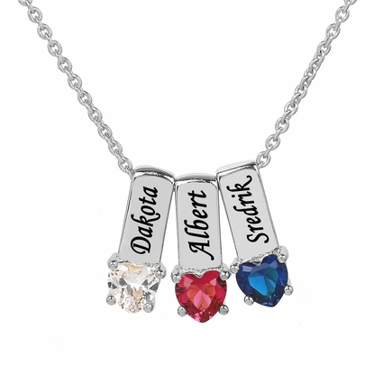 Mother's Necklace with Heart Shape Birth Stone