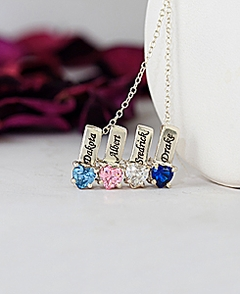 Mother's Necklace w/ Personalized Heart Shaped Birthstone Charms