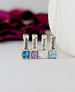 Mother's Necklace w/ Personalized Square Shaped Birthstone Charms