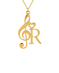 Music Note Initial Necklace