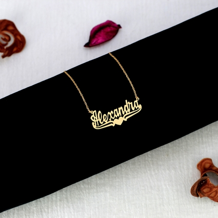 "Name Necklace w/ Lower Tails & Heart ""Alexandra"""