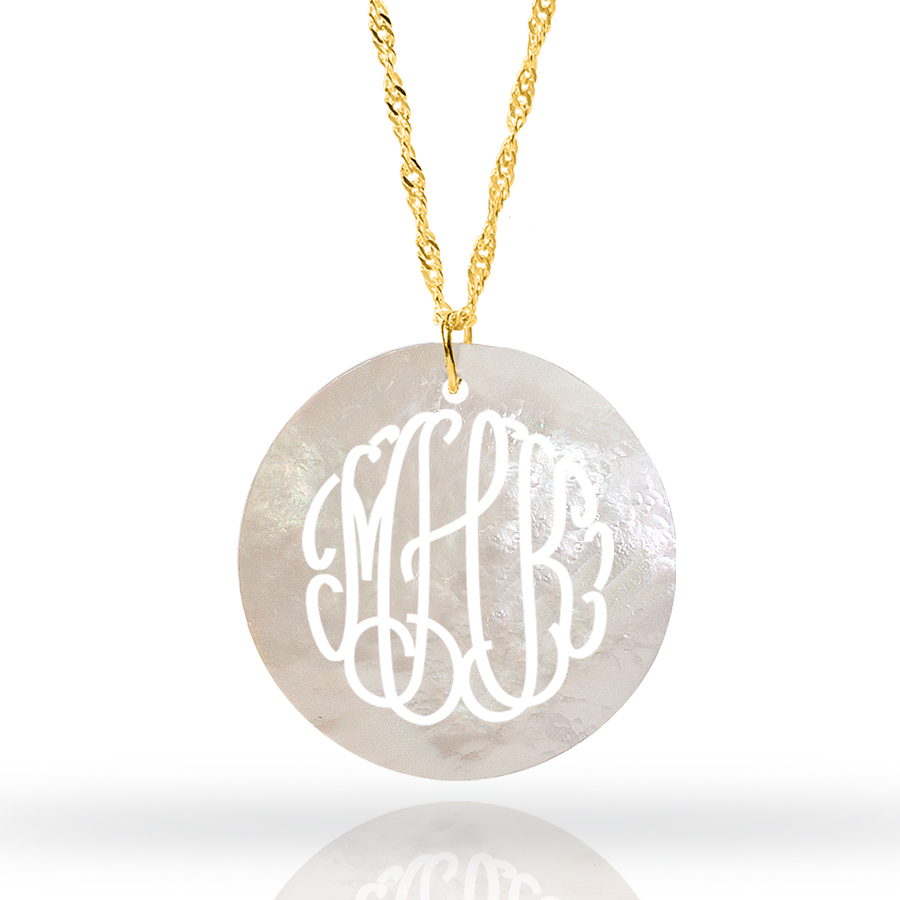 natural mother p necklace disc pearl lockets monogram