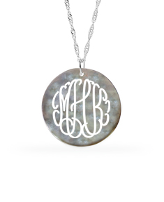NATURAL NACAR SHELL MONOGRAM NECKLACE
